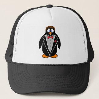 penguin in a tux trucker hat