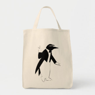 Penguin in a Tuxedo  - Cool As Ice Hipster Grocery Tote Bag