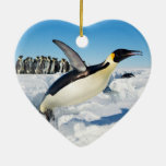 Penguin in Antarctica Jumping Out of the Water Christmas Tree Ornaments
