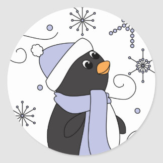 Penguin in Awe Classic Round Sticker