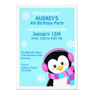 Penguin in Earmuffs Winter Birthday Invitation