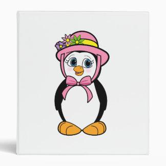 Penguin in Easter Bonnet on Pink Vinyl Binder