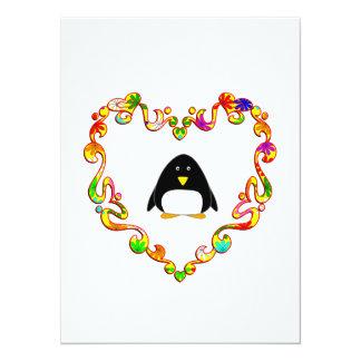 Penguin in Fancy Heart Personalized Invitation