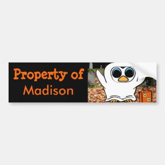Penguin in Ghost Costume at Graveyard Car Bumper Sticker