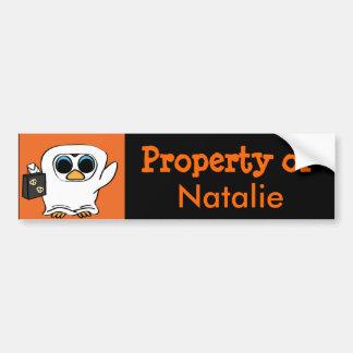 Penguin in Ghost Costume Trick or Treat Car Bumper Sticker