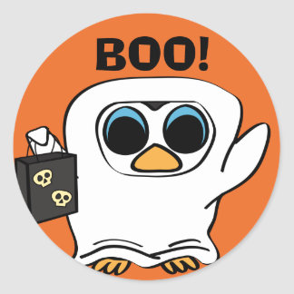 Penguin in Ghost Costume Trick or Treat Classic Round Sticker