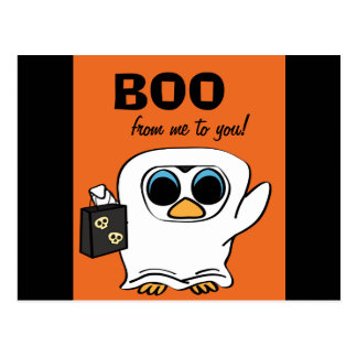 Penguin in Ghost Costume Trick or Treat Postcard