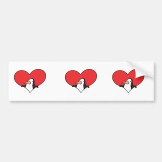 penguin in heart car bumper sticker