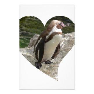 penguin in heart shape stationery design