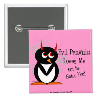Penguin in love Bling Pinback Button