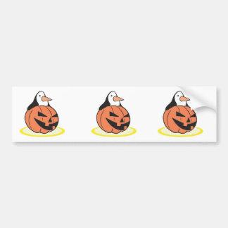 penguin in pumpkin car bumper sticker
