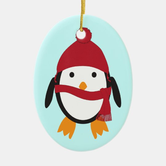 Penguin in Red Hat Ceramic Ornament