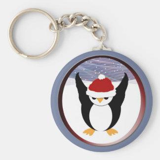 Penguin in Round Frame Keychain