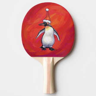 Penguin in Santa Hat on Red Ping Pong Paddle