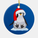 Penguin in Santa Hat Double-Sided Ceramic Round Christmas Ornament