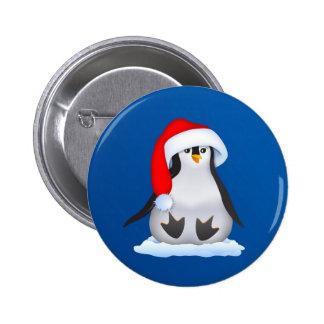 Penguin in Santa Hat Pinback Button