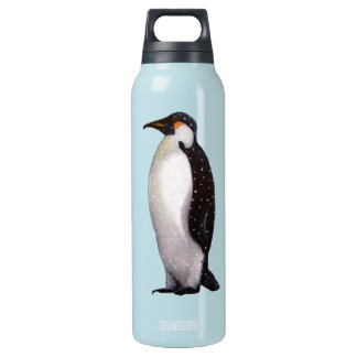 Penguin in Snow: Oil Pastel Freehand Illustration Insulated Water Bottle