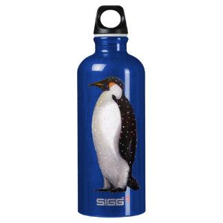 Penguin in Snow: Oil Pastel Freehand Illustration Water Bottle