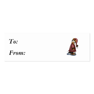 penguin in snow shoes business card templates