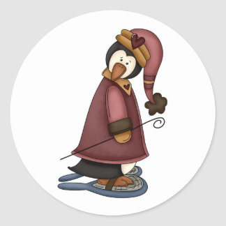 penguin in snow shoes classic round sticker