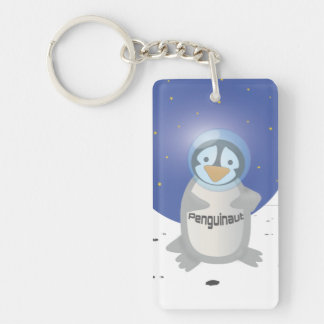 Penguin in Space Single-Sided Rectangular Acrylic Keychain