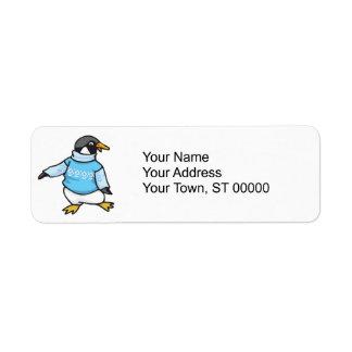penguin in sweater label
