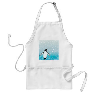 Penguin In The Snow Adult Apron