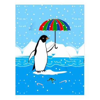 Penguin in the Snow Art on Postcard