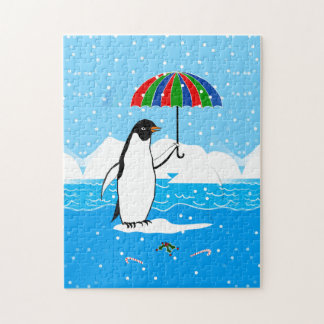 Penguin in the Snow Art on Puzzle Gift Box