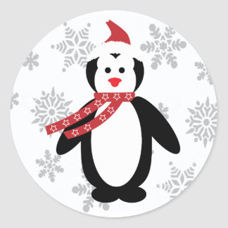 Penguin in the Snow with Santa's Hat on Sticker
