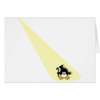 Penguin in the Spotlight Greeting Cards