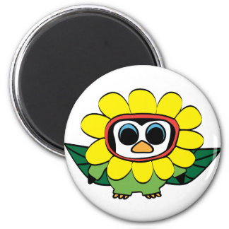 Penguin in Yellow Flower Costume 2 Inch Round Magnet