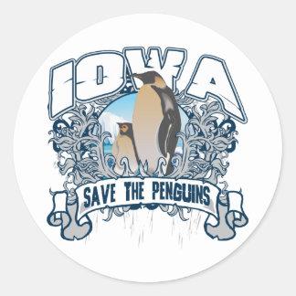 Penguin Iowa Round Sticker
