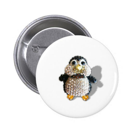Penguin Jewel Add Text  & Choose Colors You Want 2 Inch Round Button