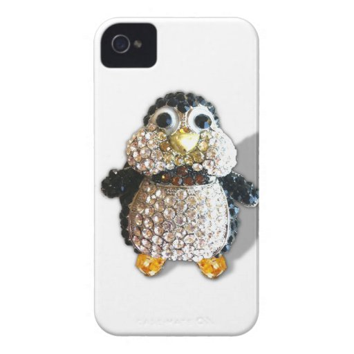 Penguin Jewel Add Text  & Choose Colors You Want iPhone 4 Cover