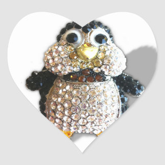 Penguin Jewel Add Text  & Choose Colors You Want Heart Sticker