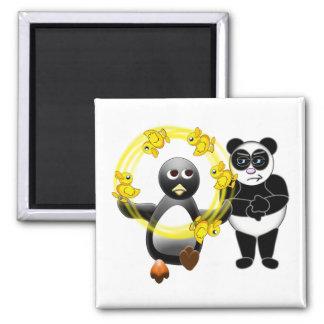 PENGUIN JUGGLING DUCKS PANDA BEAR DISAPPROVING 2 INCH SQUARE MAGNET