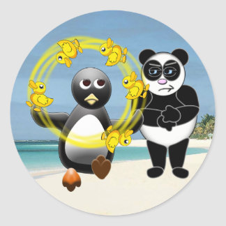 PENGUIN JUGGLING DUCKS PANDA BEAR DISAPPROVING CLASSIC ROUND STICKER