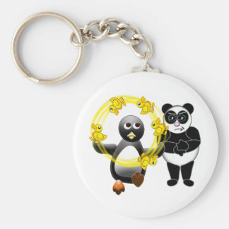 PENGUIN JUGGLING DUCKS PANDA BEAR DISAPPROVING KEYCHAIN