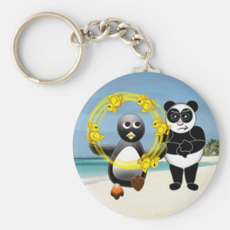 PENGUIN JUGGLING DUCKS PANDA BEAR DISAPPROVING KEY CHAINS
