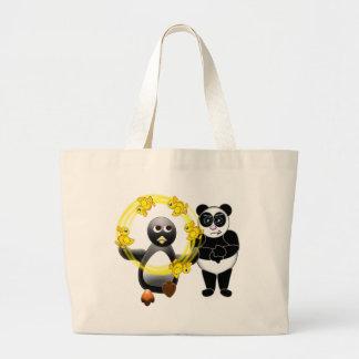 PENGUIN JUGGLING DUCKS PANDA BEAR DISAPPROVING LARGE TOTE BAG