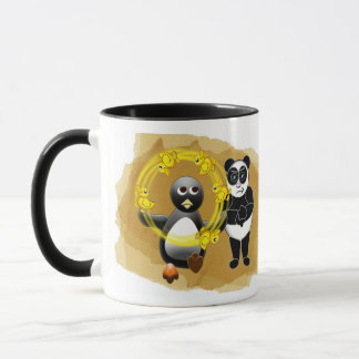 PENGUIN JUGGLING DUCKS PANDA BEAR DISAPPROVING MUG