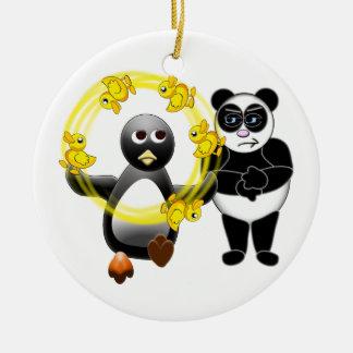 PENGUIN JUGGLING DUCKS PANDA BEAR DISAPPROVING ORN CERAMIC ORNAMENT