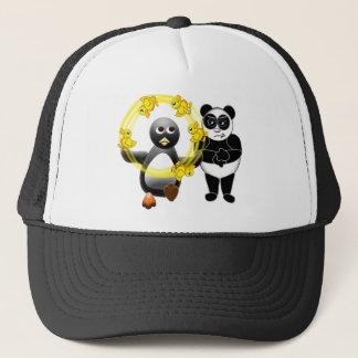 PENGUIN JUGGLING DUCKS PANDA BEAR DISAPPROVING TRUCKER HAT