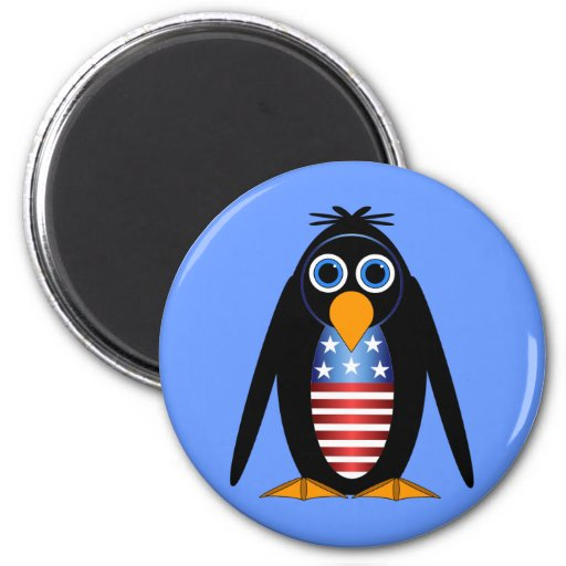 penguin July 4th 2 Inch Round Magnet