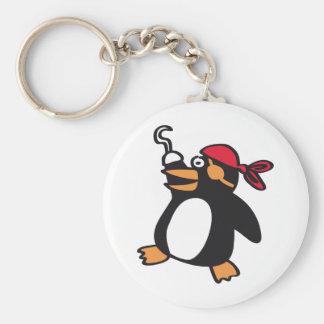 penguin basic round button keychain