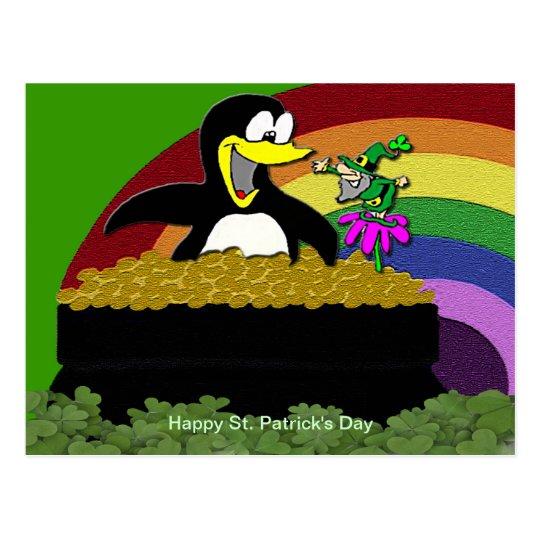 Penguin, Leprechaun, Gold and Rainbow Postcard