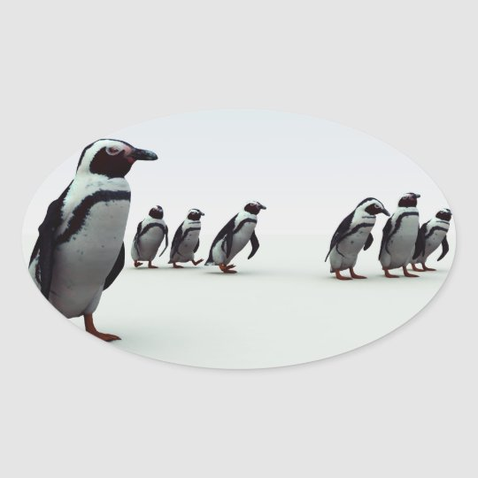 Penguin Line-up Oval Sticker