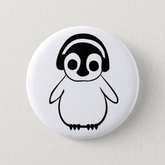 Penguin Listens To Music Badge Pinback Button