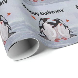Penguin Love Anniversary Wrapping Paper